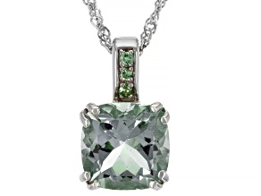 Green Amethyst Rhodium Over Sterling Silver Pendant With Chain 3.14ctw