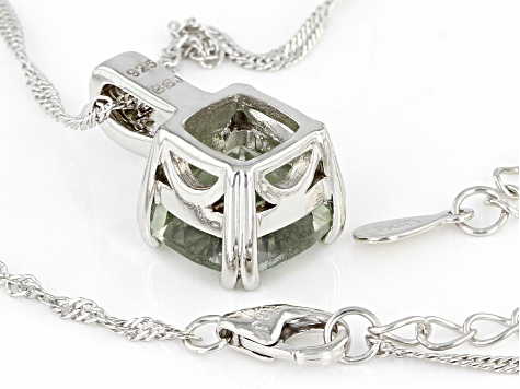 Green Prasiolite Rhodium Over Sterling Silver Pendant With Chain 3.14ctw