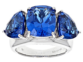 Blue Lab Created Spinel Sterling Silver 3-Stone Ring 9.78ctw