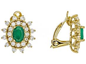 Green Sakota emerald 18k gold over sterling silver clip-on earrings 3.83ctw