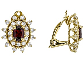 Red garnet 18k gold over sterling silver clip-on earrings 4.41ctw