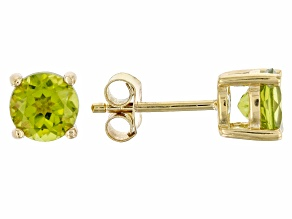 Green peridot 18k yellow gold over sterling silver stud earrings 1.92ctw