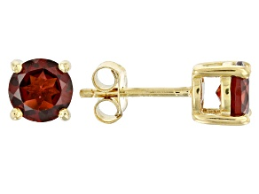 Red Garnet 18k Yellow Gold Over Sterling Silver Stud Earrings 2.16ctw