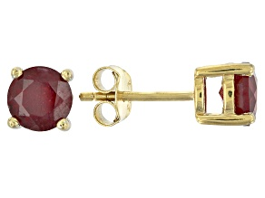 Red ruby 18k yellow gold over sterling silver stud earrings 2.31ctw