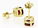 Red Mahaleo(R) ruby 18k yellow gold over sterling silver stud earrings 2.31ctw