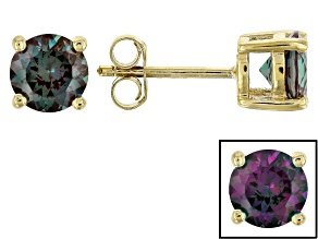 Color change lab created alexandrite 18k gold over silver stud earrings 1.70ctw