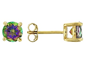Green Mystic Topaz® 18k yellow gold over sterling silver stud earrings 1.71ctw