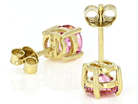 Pink topaz 18k yellow gold over sterling silver stud earrings 1.71ctw