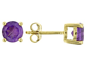 Purple amethyst 18k yellow gold over sterling silver stud earrings 1.52ctw