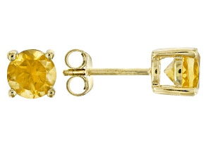 Yellow citrine 18k yellow gold over sterling silver stud earrings 1.50ctw
