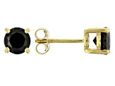Black Spinel 18K Yellow Gold Over Sterling Silver Stud Earrings 1.96CTW