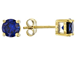 Blue lab created sapphire 18k yellow gold over sterling silver earrings 1.82ctw