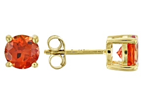 Orange lab created Padparadscha sapphire 18k yellow gold over sterling silver stud earrings 2.00ctw