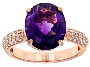 Purple African amethyst 18k rose gold over sterling silver ring 3.91ctw
