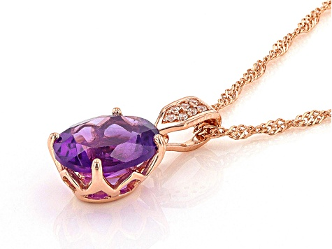 Purple African amethyst 18k rose gold over sterling silver pendant with chain 2.76ctw