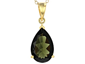 Green Moldavite 18k Yellow Gold Over Sterling Silver Pendant With Chain 2.84ct