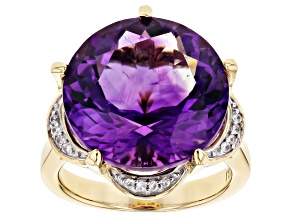 Purple African Amethyst 18k Gold Over Silver Ring 11.75ctw