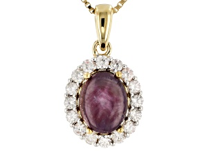 Red Ruby 18k Yellow Gold Over Sterling Silver Pendant With Chain 2.92ctw