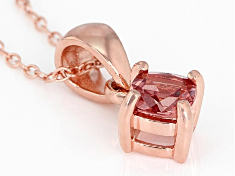 Color-shift  garnet 18k rose gold over silver pendant with chain .59ct