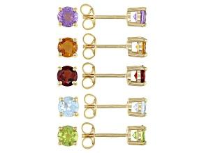 Multi Gem 18K Yellow Gold Over Sterling Silver Stud Earrings Set 4.16ctw