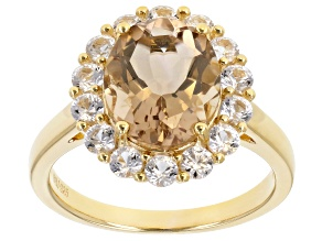 Brown Quartz 18k Yellow Gold Over Sterling Silver Halo Ring 3.88ctw