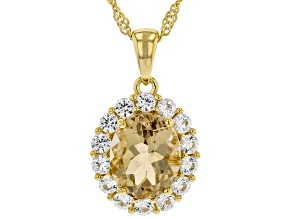 Champagne Quartz 18K Gold Over Silver Pendant With Chain 3.88ctw