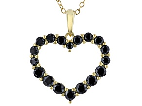Black Spinel 18k Yellow Gold Over Sterling Silver Heart Pendant with Chain 1.28ctw