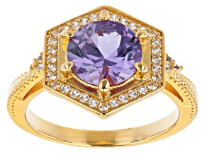 Purple Lab Created Color Change Sapphire 18k Yellow Gold Over Silver Ring 1.59ctw