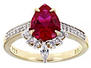 Red Lab Created Ruby 18K Yellow Gold Over Sterling Silver Ring 2.31ctw
