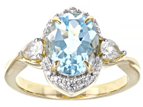 Sky Blue Topaz 18K Yellow Gold Over Sterling Silver Ring 3.27ctw