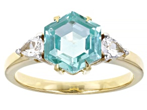 Green Lab Created Spinel 18k Gold Over Sterling Silver Ring 3.13ctw