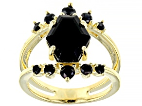 Fancy Shape & Round Black Spinel 18k Yellow Gold Over Sterling Silver Ring 4.50ctw
