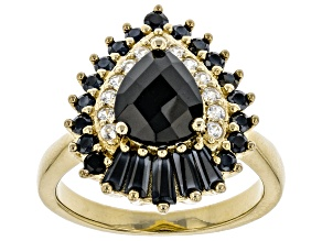 Black Spinel with Round White Zircon 18k Yellow Gold Over Sterling Silver Ring. 2.88ctw