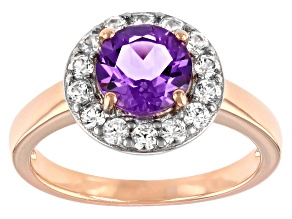 Round Lavender Amethyst with White Zircon 18k Rose Gold Over Sterling Silver Halo Ring. 1.76ctw