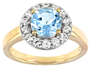 Round Glacier Topaz™ with White Zircon 18k Gold Over Sterling Silver Halo Ring. 2.02ctw