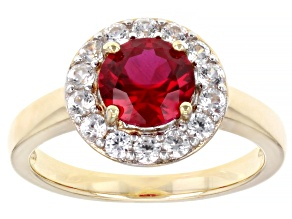 Red Lab Created Ruby 18k Yellow Gold Over Sterling Silver Halo Ring. 1.76ctw