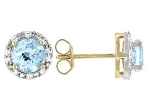 Blue Topaz 18k Rose Gold Over Sterling Silver Earrings 1.85ctw.