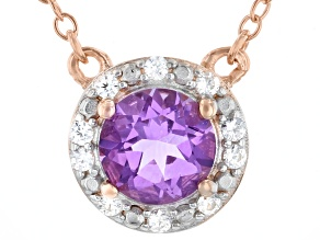 Round Lavender Amethyst 18k Rose Gold Over Sterling Silver Halo Necklace 0.69ctw.