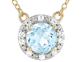 Glacier Blue Topaz™ 18k Yellow Gold Over Sterling Silver Halo Necklace 0.93ctw