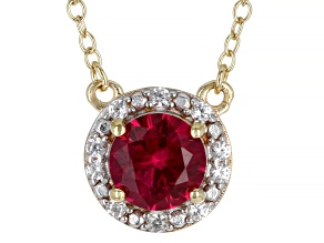 Red Lab Created Ruby And White Zircon 18k Yellow Gold Over Sterling Silver Halo Necklace 0.79ctw.