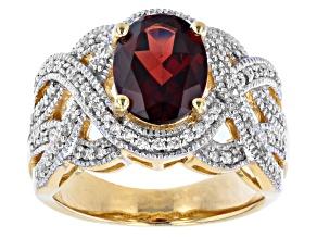 Red Vermelho Garnet™ 18k Yellow Gold Over Sterling Silver Ring 2.95ctw