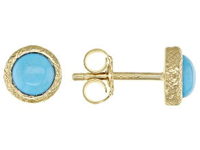 Sleeping Beauty Turquoise 18k Yellow Gold Over Sterling Silver Stud Earrings 2.38ctw