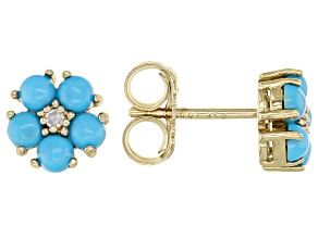 Sleeping Beauty Turquoise With Diamond 18k Gold Over Sterling Silver Flower Stud Earrings .03ctw