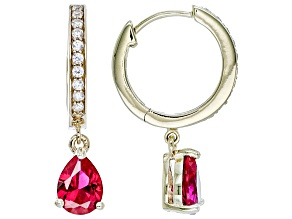 Red Lab Created Ruby 18k Yellow Gold Over Sterling Silver Dangle Earrings 2.46ctw