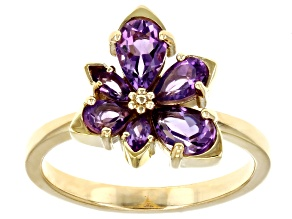 Purple African Amethyst 18k Yellow Gold Over Sterling Silver Asymmetrical Flower Ring .97ctw