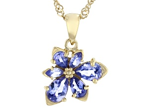 Blue Tanzanite 18k Yellow Gold Over Sterling Silver Asymmetrical Flower Pendant/Chain 1.11ctw