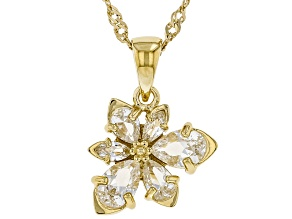 White Lab Sapphire 18k Yellow Gold Over Silver Asymmetrical Flower Pendant With Chain 1.28ctw