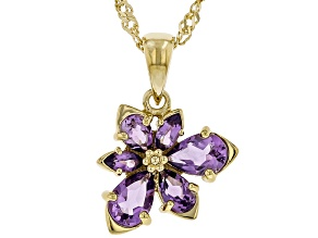 Purple African Amethyst 18k Yellow Gold Over Silver Asymmetrical Flower Pendant/Chain 1.28ctw