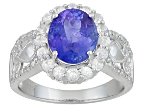 2.80ct Tanzanite With White Zircon .64ctw Round And White Diamond Accent Sterling Silver Ring