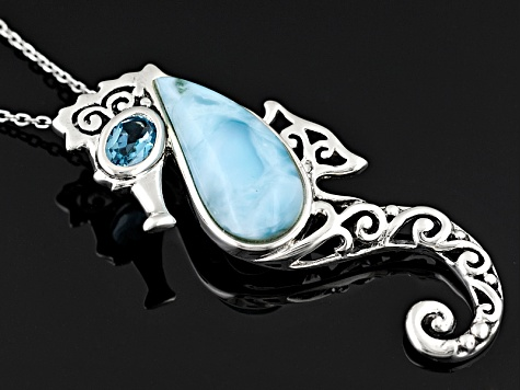 Larimar Cabochon With Blue Topaz .50ct Sterling Silver